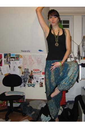 lime green beaded From India necklace - teal harem pants from Thailand pants