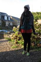 black stretchy jeans - black leather h&m via ebay jacket
