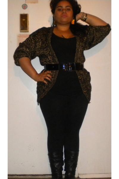 4d298582184 gold breckenridge sweater - black Kenar belt - black ashley stewart leggings  - b