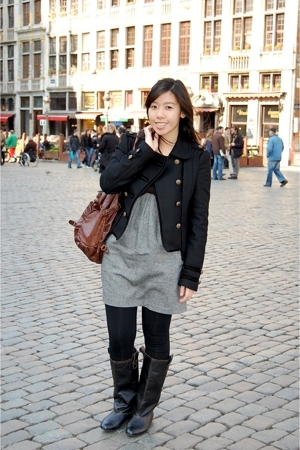 Zara jacket - bysi dress - Urban Outfitters purse - landmark tights - Zara boots