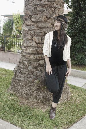 brown boots - Forever 21 blazer - sequined shirt - papaya pants