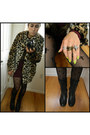 Dark-gray-combat-boots-friends-boots-brick-red-body-con-forever-21-dress