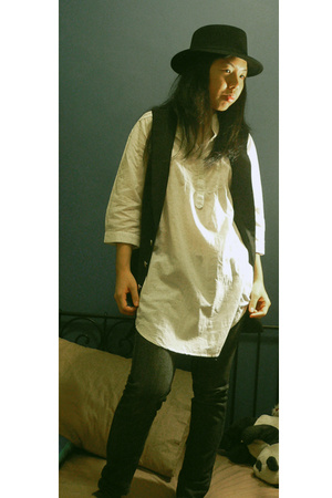 Topman hat - Mango jeans - online shirt - grandma-made vest