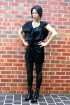 nunan dress - cotton on tights - zu boots - bardot necklace