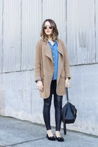 chambray shirt Sheinside top - tan coat Chicwish coat - Nordstrom leggings