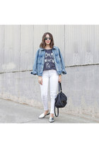 graphic tee Junk Food top - denim jacket Forever 21 jacket