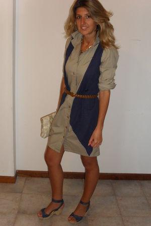 beige united colors of benetton dress - blue next vest - blue shoes - beige H&M