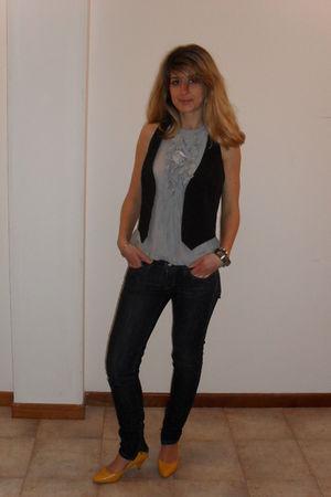 yellow next shoes - Mango jeans - black Zara vest - gray top