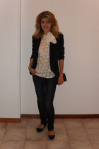 black shoes - blue Mango jeans - white DIY top - black Promod blazer