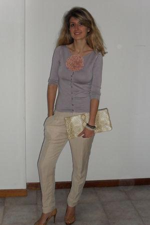 purple next cardigan - beige H&M bracelet - beige Zara pants - beige Guess shoes
