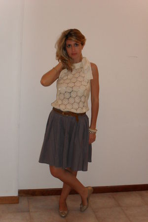 gold Dorothy Perkins shoes - purple no brand skirt - white self-made top - brown