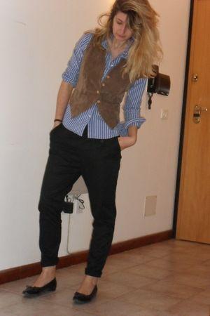 black Zara pants - H&M shirt - brown vintage vest - black ferragamo shoes