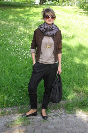 black Zara pants - brown jacket - beige sweater - accessories