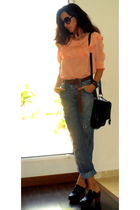 H&M blouse - blue Zara jeans - black Zara bag - black Moschino sunglasses