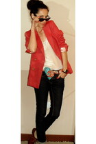 tawny Zara shoes - navy SANDRO jeans - coral SANDRO blazer - teal SANDRO scarf -
