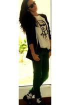 black SANDRO jacket - white hm vintage lagerfeld collection t-shirt - dark green