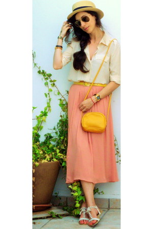 cream BLANCO shoes - mustard Bershka hat - yellow Max Mara bag - yellow Max Mara