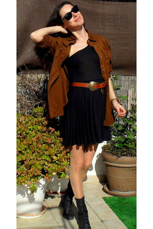 vintage shoes - Zara dress - Mango shirt - BLANCO belt