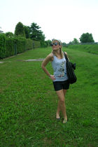 silver top - blue Sisley shorts - black H&M shoes - black purse - silver headban