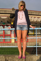 pink Zara blouse - blue DIY Met shorts - pink shoes - blue cardigan