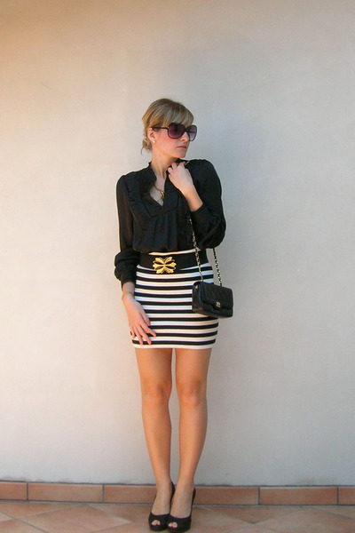 black H&M blouse - white H&M skirt - black shoes - black Chanel purse - gold Acc