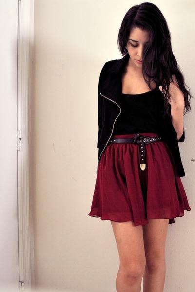 Maroon As, Line Flowy Forever 21 Skirts, Black Moto Jacket Forever ...