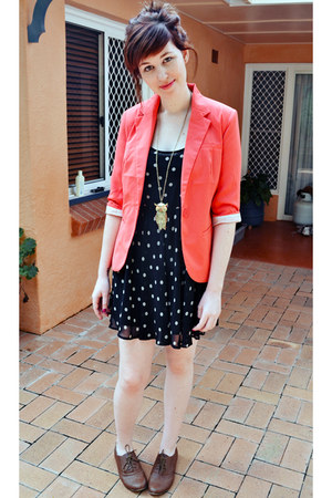 coral Sunnygirl blazer - black Sportsgirl dress - brown Dorothy Perkins flats