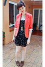 Black-sportsgirl-dress-coral-sunnygirl-blazer-brown-dorothy-perkins-flats