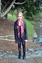 bubble gum French Connection scarf - black Primark boots - gray Dotti dress