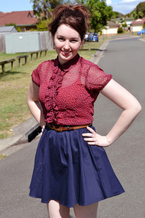 hot pink Zara blouse - dark brown portmans belt - navy portmans skirt