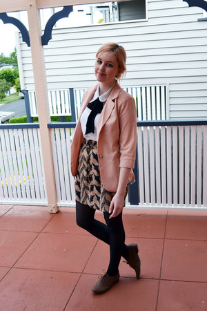 peach Valleygirl blazer - white Dotti shirt - black tights