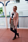 Peach-valleygirl-blazer-white-dotti-shirt-black-tights