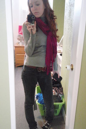 H&M shirt - Simons jeans - Bizou scarf - BCBG purse - moms belt