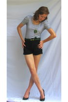 white H&M shirt - green vintage belt - black Urban Outfitters shorts - green Aga