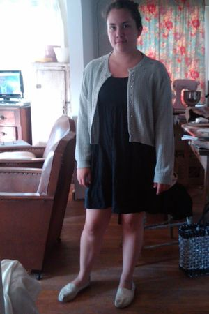 black Forever 21 dress - white TOMS shoes - blue vintage sweater