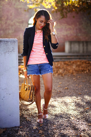 light pink Qupid shoes - navy JCrew blazer - white striped JCrew shirt