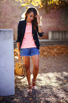 light pink Qupid shoes - navy JCrew blazer - white striped JCrew shirt