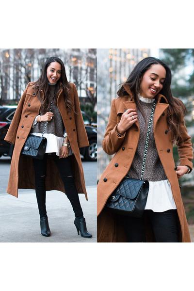 camel trench coat Express coat - black Charlotte Russe shoes