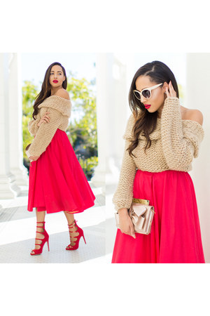 beige Sheinside sweater - red JustFab shoes - beige Bebe bag - zeroUV sunglasses