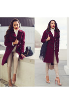 nude Christian Louboutin shoes - crimson Tommy Hilfiger coat