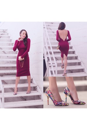 mustard vintage bag - maroon velvet Lulus dress
