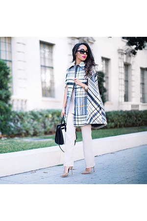 white plaid asos cape