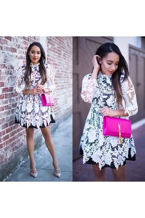 white lace Sheinside dress - nude Valentino shoes - bubble gum YSL bag