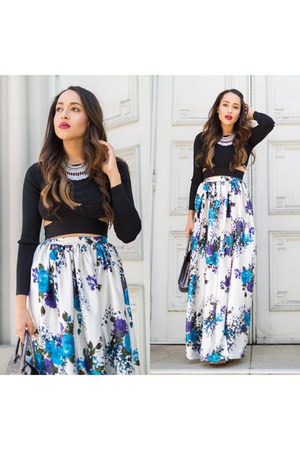 white floral KTR Collection skirt - black stuart weitzman shoes