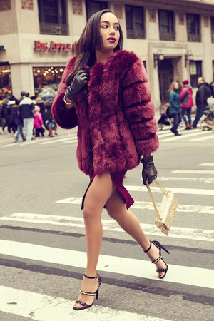 crimson faux fur Lulus coat