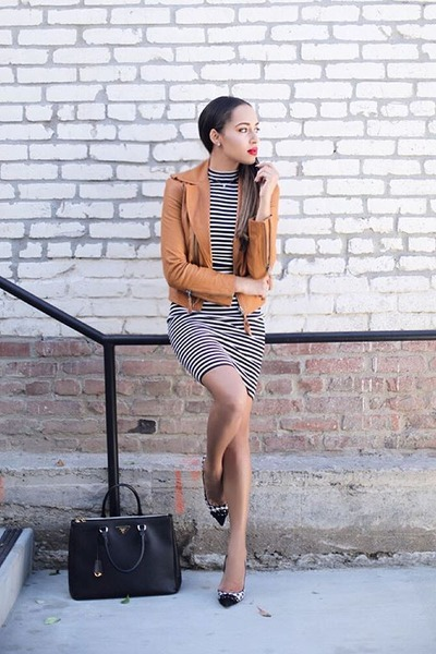 white striped Lucy Paris dress - black Prada bag