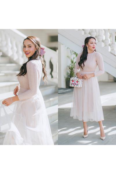 light pink storets dress - nude Jimmy Choo shoes - white Dolce & Gabbana bag