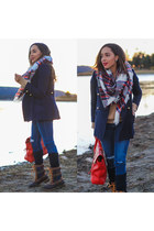 navy kamik boots - navy paul & joe coat - blue AG jeans