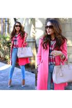 bubble gum asos coat - silver JCrew shoes - sky blue Charlotte Russe jeans