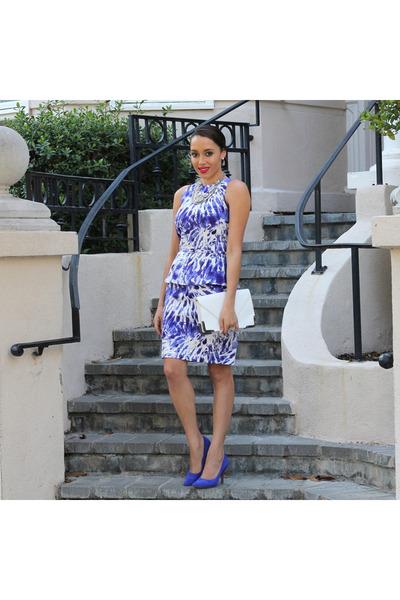 white peplum London times dress - blue Sole Society shoes